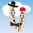 Graphic illustration of two frankfurter characters — Imagen vectorial