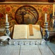 Very old altar of evengelical church from Satu Nou from Romania — Stock Photo