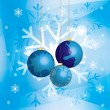 图库矢量图片: Christmas background with baubles and golden chains in snow