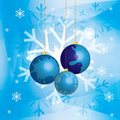 Christmas background with baubles and golden chains in snow — Stockvector