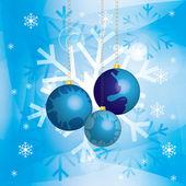 Kerstmis achtergrond met kerstballen en gouden kettingen in sneeuw — Stockvector