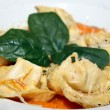 Tortelloni with sauce and parmesan at restaurant - italian cuisine — 图库照片