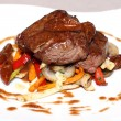Grilled beef with vegetables on white plate — Foto de Stock