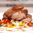 Beef steak with grilled vegetable and mushrooms — Stock Photo