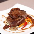 Stock Photo: Grilled beef steak with vegetables at restaurant