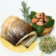 Salmon fish on plate at restaurant — Stock Photo