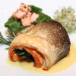 Salmon fish on plate — Stockfoto