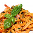 Plate of delicious seafood pasta - macro scene — Stock Photo