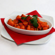 Carrots salad on white plate — Stock Photo