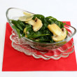 Stock Photo: Fresh salad with spinach and mushrooms