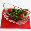 Ruccola salad on glass bowl — Stock Photo
