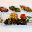 Stock Photo: Tasty grilled meat with salad on white plate