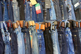 Blue jeans on display at Grand Bazaar from Istanbul — Stock Photo