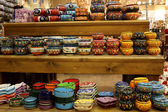 Classical turkish ceramics on market racks — Photo