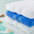 White and Blue bath towels — Stock Photo #12482365