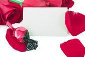 Roses and candy with a blank gift card — Stock Photo
