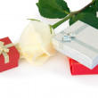 Stock Photo: Rose and gifts