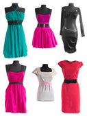 Collection of different colorful dress on a mannequin  — Stock Photo