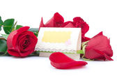 Red roses with a blank gift card  — Stock Photo