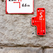 Signs on rock wall — Stock Photo