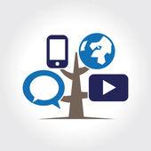 Digital tree icon logo template. — Stock Vector