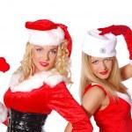 Pretty girls flirt in carnival costume — Stock Photo #4326498