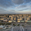 Panorama of Warsaw city during sundown - Stock Photo