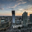 Panoramic view of Warsaw city during sundown. - Stock Photo
