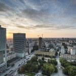 Modern buildings in Warsaw during sundown — Stock Photo #12451001