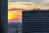 Sundown over Warsaw city. — Stock Photo