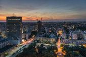 Night panorama of Warsaw city — Stock Photo