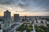Modern buildings in Warsaw during sundown — Stock Photo