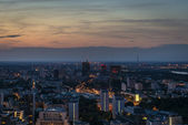 Warsaw panorama at night time. — Stock Photo