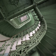 Vintage, green spiral staircase — Stock Photo