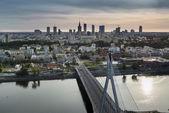 Sundown over Warszawa city, Poland — Stock Photo