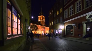 Street of Old town Warsaw, Poland. — Stock Video