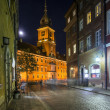 Old Town street at night with view to Royal Palace in Warsaw — Stock Photo #13249495