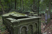 Tombstone on historic Jewish cemetery in Warsaw, Poland — Stock Photo