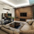 Modern living room with fireplace - Stok fotoğraf