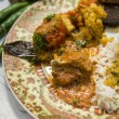 Indian food plate with chicken masala — Stock Photo