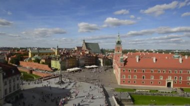 Roof panorama of Royal Palace from Old town Tower — Stock Video