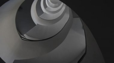 Modern interior with spiral staircase, view from down — Stock Video