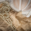 Stock Photo: Feminine bra, perlas and underclothes