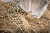 Feminine bra, perlas and underclothes — Stock Photo