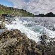 Rocky coastline The Giants Causeway — Stock Photo