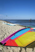 Kite surf sail on the beach — Stock Photo