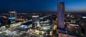Night panorama of Warsaw city center — Stock Photo