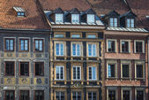 Tenements facades on Old Town Square historic district, Warsaw — Stock Photo