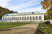 Panoramic view of old orangery in Lazienki park, Warsaw, Poland — Stock Photo