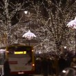 Stok video: Christmas Lights decoration on Krakowskie Przedmiescie street in Warsaw, Poland.